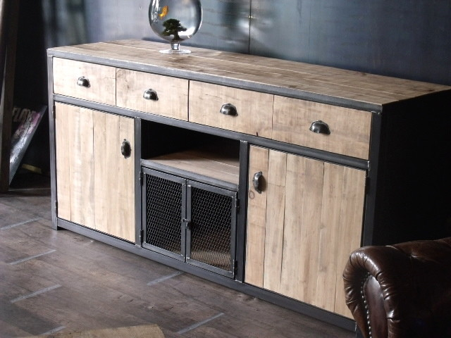 meuble buffet bois de palette industriel salon other. Black Bedroom Furniture Sets. Home Design Ideas
