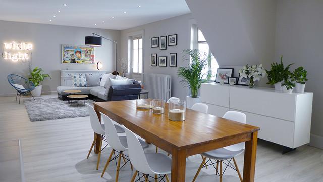 pour toute la famille une pi ce de vie contemporaine dans les teintes de gris contemporain. Black Bedroom Furniture Sets. Home Design Ideas