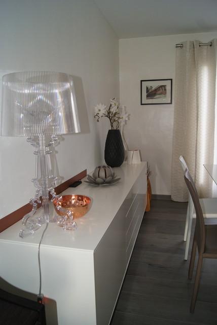 projet ambiance cuivre-argent/ noir & blanc - contemporain - salle ... - Deco Salle A Manger Noir Et Blanc