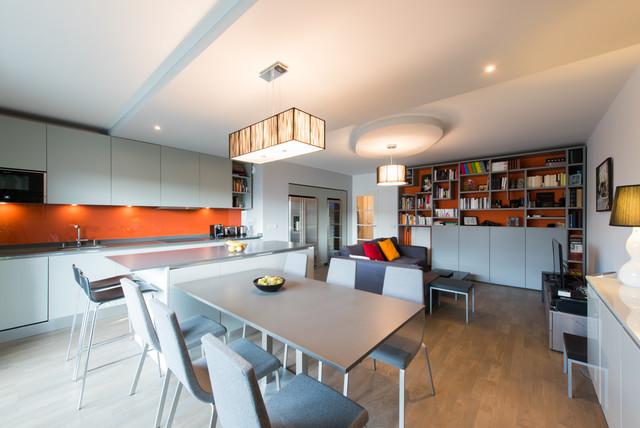Projet Cuisine Salon Lineaire Avec Grand Ilot Central