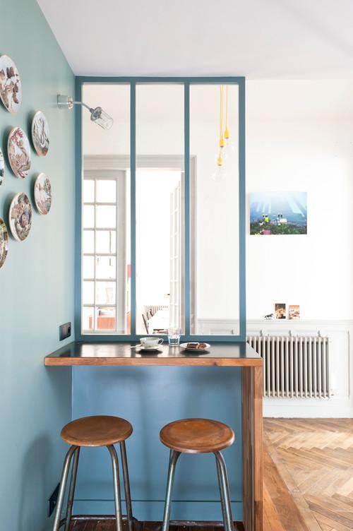 10 id es pour am nager sa cuisine avec une verri re for Verriere entre cuisine et salle a manger