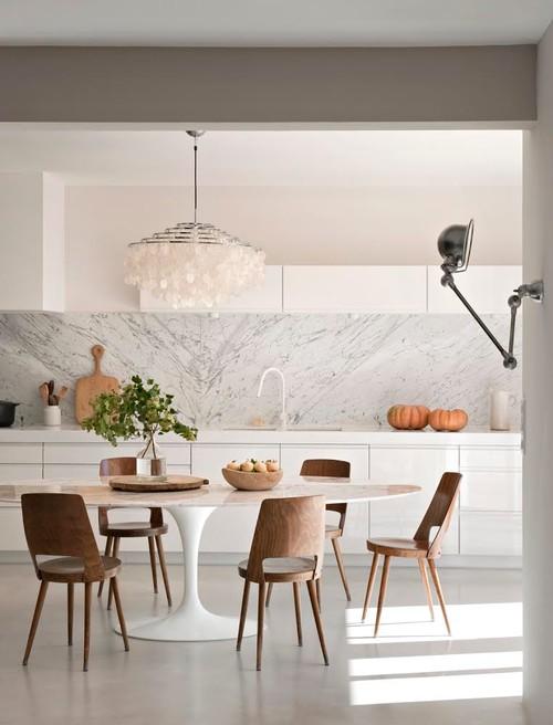 contemporain salle a manger - La folie du marbre blanc