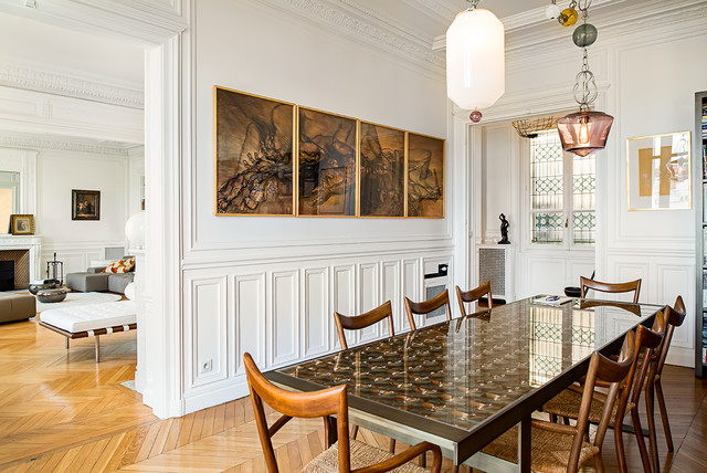 salle manger dans un appartement haussmannien classique chic salle manger paris par. Black Bedroom Furniture Sets. Home Design Ideas