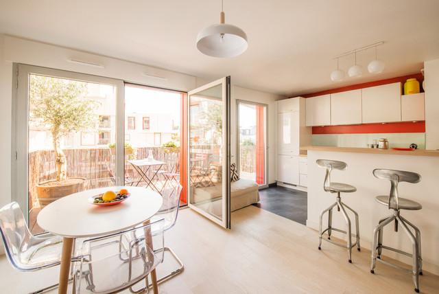 Salon et cuisine ouverte avec terrasse paris 17 me for Cuisine ouverte sur terrasse