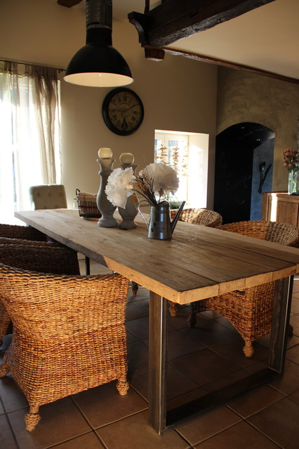 table de salle manger en bois et m tal campagne salle manger angers par du cote de l. Black Bedroom Furniture Sets. Home Design Ideas
