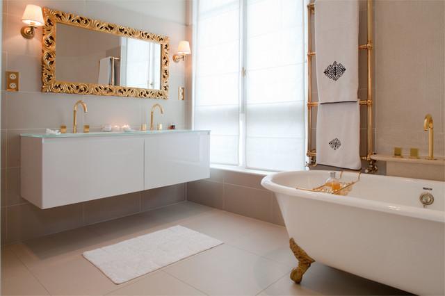 appartement haussmannien contemporain salle de bain. Black Bedroom Furniture Sets. Home Design Ideas