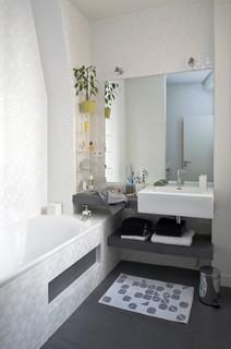 Salle De Bain Avec Carrelage Gris Et Blanc Photos Et Idees Deco
