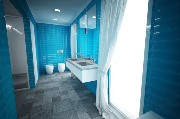 Carrelage rectangle turquoise - Contemporain - Salle de Bain ...