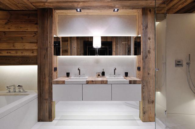 chalet l rustic bathroom lyon by agence philippe magnin du sauzey. Black Bedroom Furniture Sets. Home Design Ideas