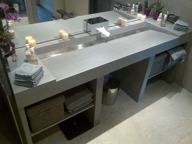 Concrete Sinks Brushed Stainless Steel Contemporary