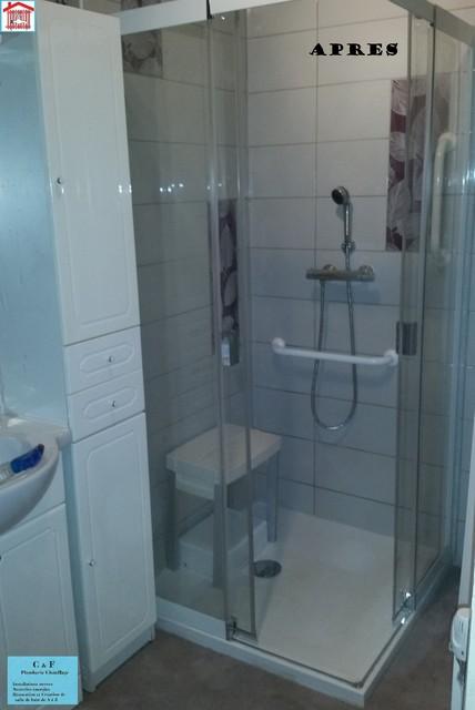 Douche ultra plate avec pompe de relevage int grer pour - Douche appartement ...
