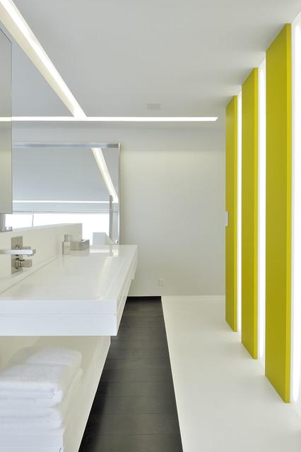 Habillage de salle de bains plan vasque et rev tement de sol moderne salle de bain - Plan salle de bain moderne ...