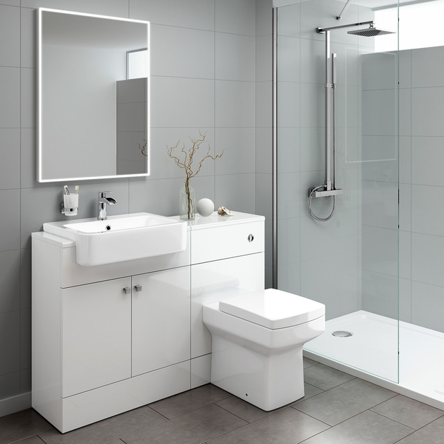 Harper Gloss White Suite Contemporary Bathroom