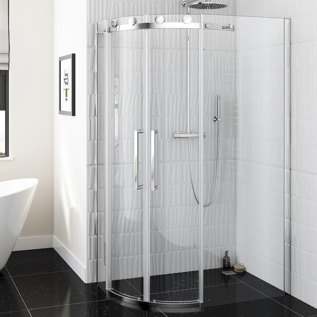 Luxury Bathrooms West Midlands luxe frameless easyclean quadrant shower enclosure - roomset