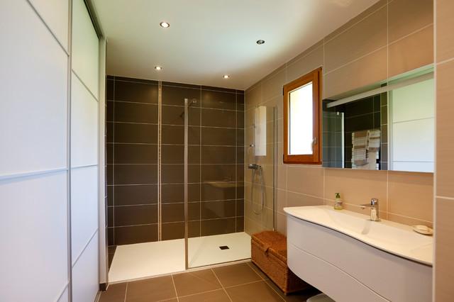 maison ossature bois grésy sur aix - contemporain - salle de bain ... - Salle De Bain Maison