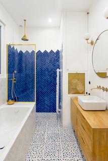 Salle de bain avec un carrelage bleu : Photos et idées déco ...