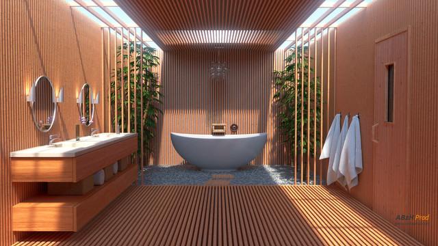 Modelisation Photorealiste 3d D Une Salle De Bain Zen