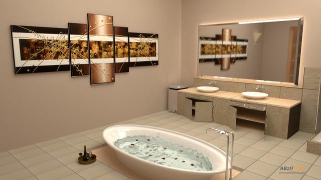 Salle De Bain grande salle de bain contemporaine : Modélisation photoréaliste d'une grande salle de bain en 3D ...