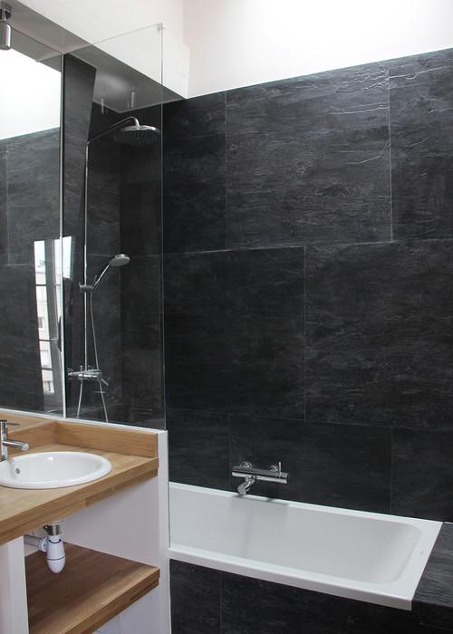 bonjour comment nettoyer ce carrelage noir/pierre quand eau calcaire - Calcaire Carrelage Salle De Bain