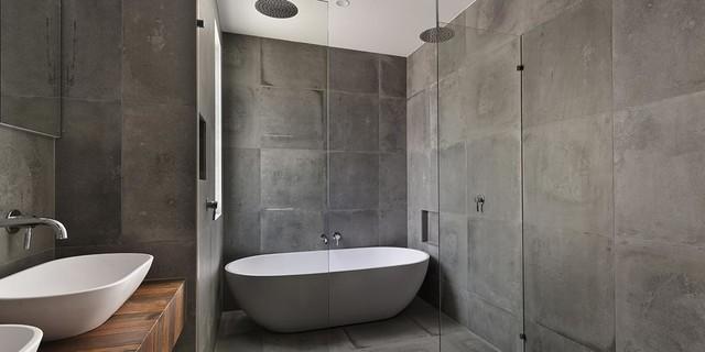 Paroi de douche en verre design industriel salle de - Bain douche nancy ...