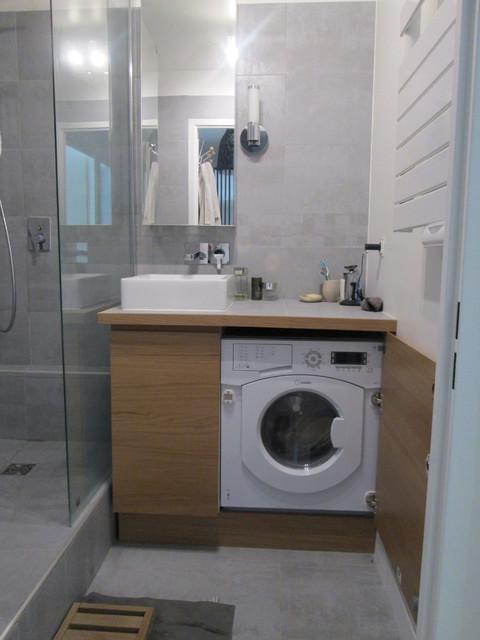 Petite salle bain contemporain salle de bain other metro par coralie ball ry d coration for Petite salle de bain architecte