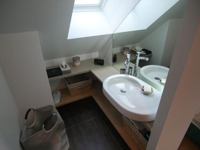 petite salle de bain vasque rocca miroir plan b ton