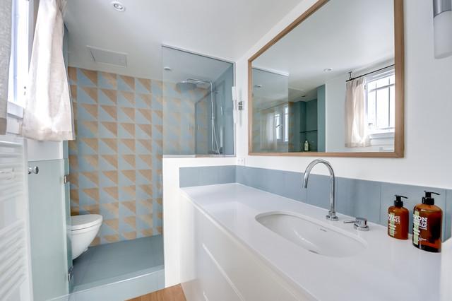 r novation appartement 38 50m2 contemporain salle de bain other metro par nelson. Black Bedroom Furniture Sets. Home Design Ideas