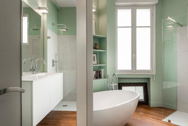 r novation appartement ann es 30 contemporain salle de bain paris par decorexpat. Black Bedroom Furniture Sets. Home Design Ideas