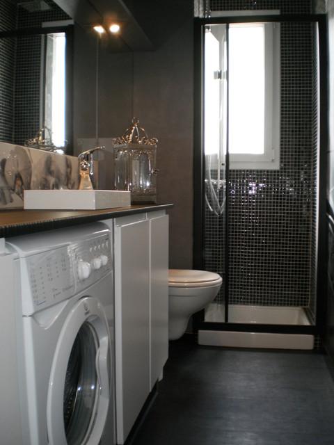 r novation salle d 39 eau apr s travaux contemporain salle de bain other metro par la. Black Bedroom Furniture Sets. Home Design Ideas