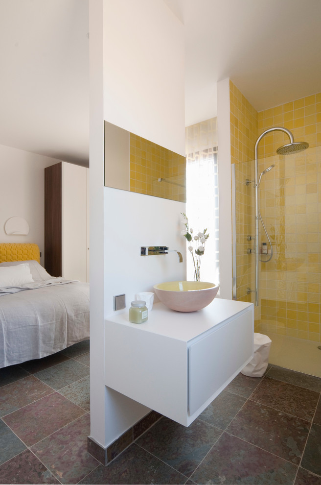 Example of a mid-sized trendy 3/4 yellow tile walk-in shower design in Nice with white walls and a vessel sink