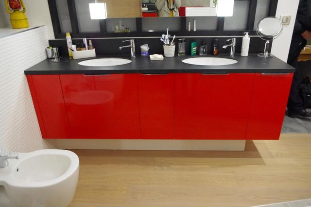 Salle de bain avec verrière bois - Contemporain - Salle de Bain ...