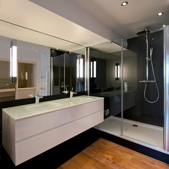 salle de bain pur e modern bathroom other metro by agence prost. Black Bedroom Furniture Sets. Home Design Ideas