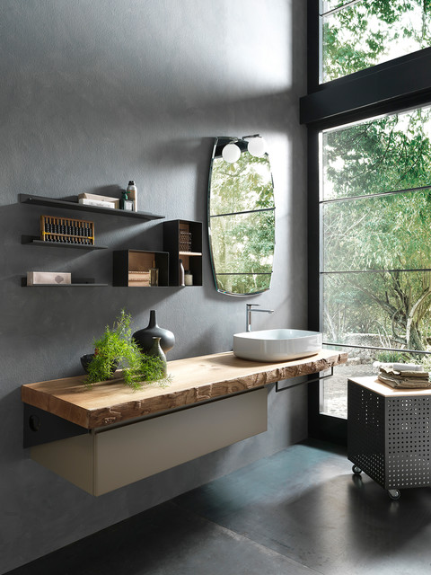 Salle de bain sur mesure plan vasque bois style naturel showroom nolte antony contemporary - Showroom salle de bain paris ...