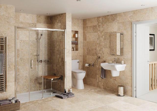 Salle de bains accessible seniors pmr avec receveur de for Salle de bain pmr
