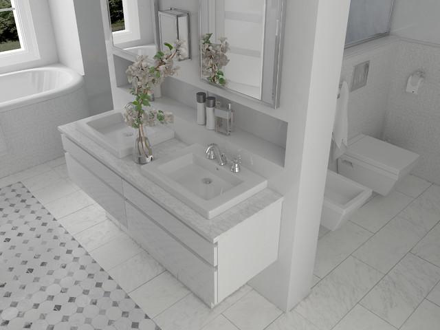 Salle de bains en Marbre de Carrare - Classique Chic - Salle de Bain ...