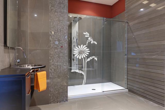Stickers vitre grandes fleurs for Vitre de salle de bain