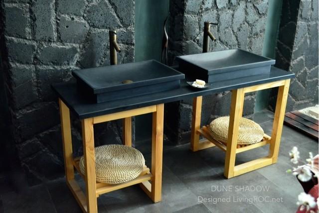 Vasque en pierre vier en granit noir 60x40 dune for Evier salle de bain en pierre