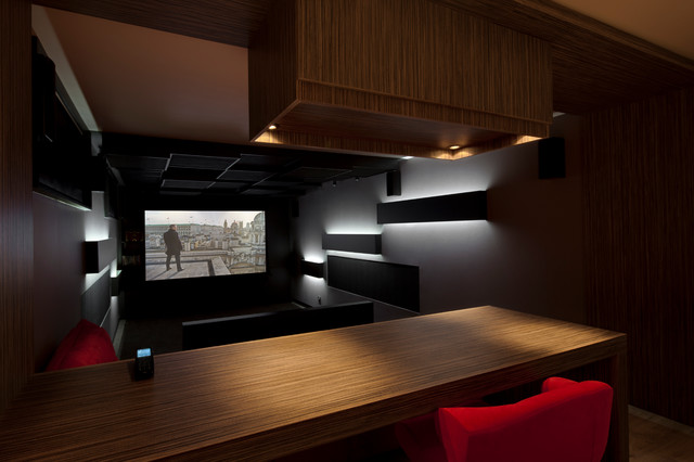 Salle de cin ma caluire 01 contemporary home theater lyon by dark sid - Home cinema salle dediee ...