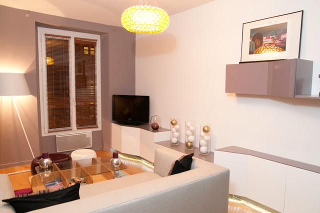 Mamadeko paris · décorateurs et stylistes dintérieur appartement glamour 2pièces 35m2 paris contemporain salle de sejour