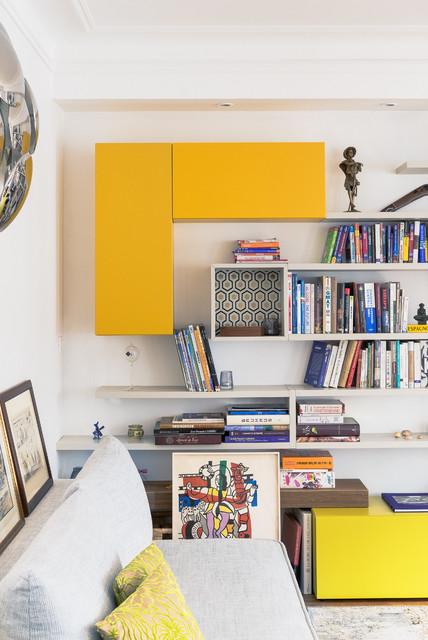 appartement haussmannien de 70m2 contemporain salle de s jour paris par marion alberge. Black Bedroom Furniture Sets. Home Design Ideas