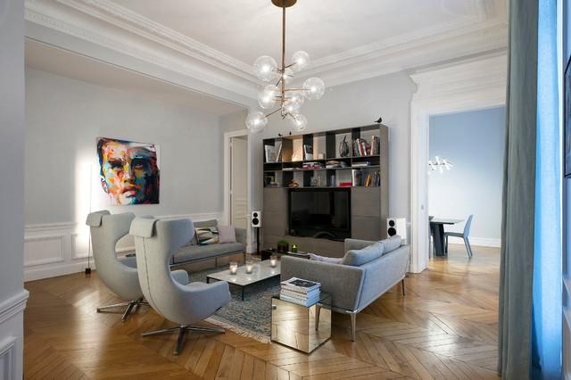appartement meissonnier paris contemporain salle de s jour paris par 10surdix. Black Bedroom Furniture Sets. Home Design Ideas