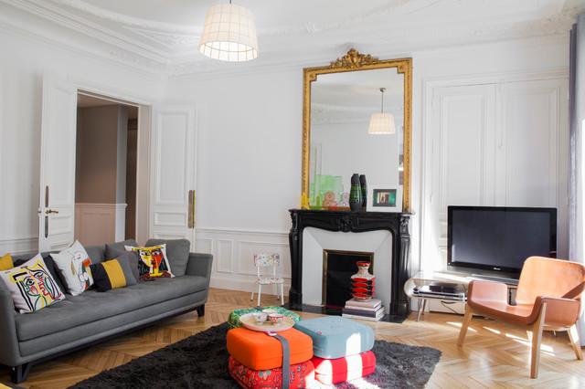 Appartement parisien classique chic salle de s jour for Interieur appartement parisien