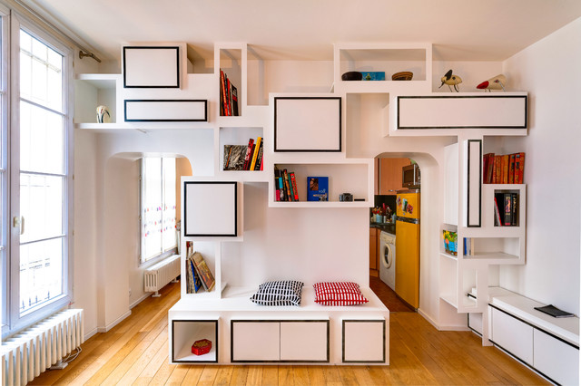 biblioth que contemporary family room other metro. Black Bedroom Furniture Sets. Home Design Ideas