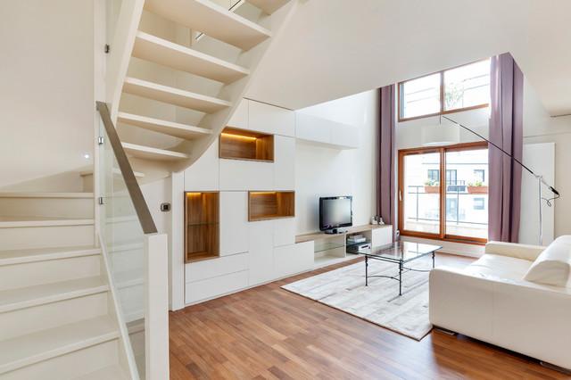 Duplex suresnes contemporain salle de s jour paris for Salle de sejour but