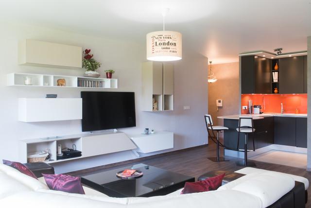 Enssemble salon et cuisine ouverte mobilier design Italien ...