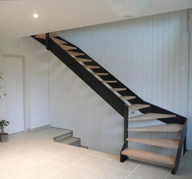 Escalier acier h tre industriel salle de s jour dijon par encrea - Escalier industriel prix ...