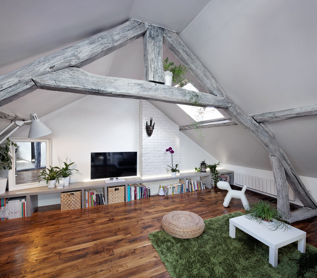 Habiter sous les toits r novation prisca pellerin architecte contemporain salle de s jour - Appartement sous comble ...