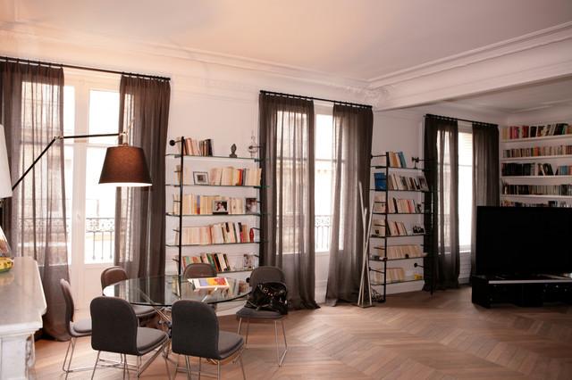 magnifique appartement haussmannien dans le 17 me classique chic rideaux other metro par. Black Bedroom Furniture Sets. Home Design Ideas
