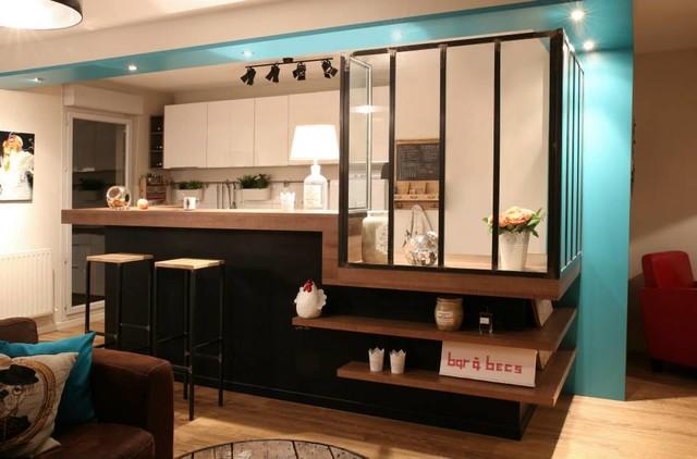 Ouverture d 39 une cuisine sur s jour moderne salle de for Une salle de sejour