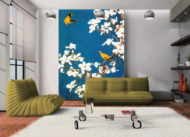 Papier peint chinois - les magnolias et les oiseaux